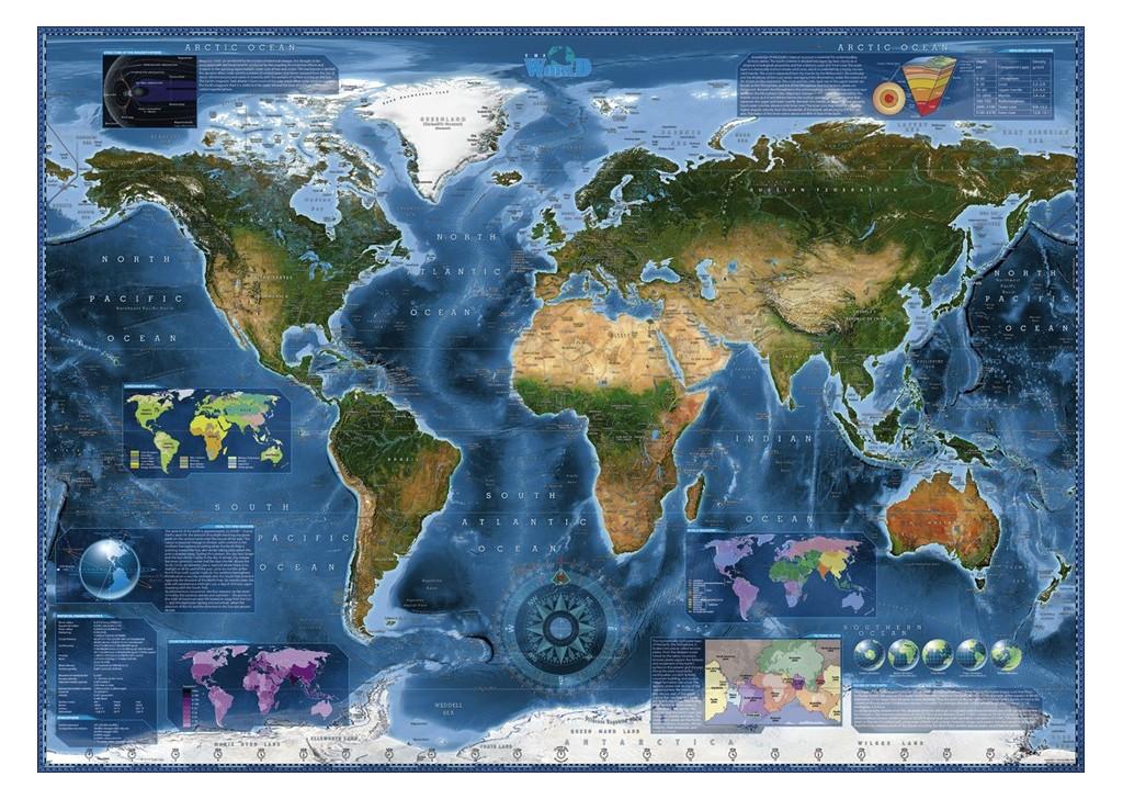 Puzzle Heye Rompecabezas De 2000 Piezas Mapa Satelital De La Tierra